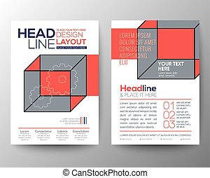 Abstract isometric cube Poster Brochure Flyer design Layout vector template in A4 size