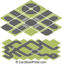 Abstract isometric road vector template isolated on white background.