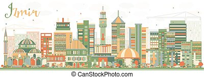 Abstract Izmir Skyline with Color Buildings.