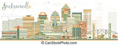 Abstract Jacksonville Skyline with Color Buildings.