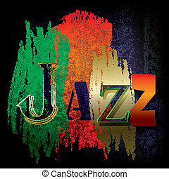 Abstract cracked background with the word jazz