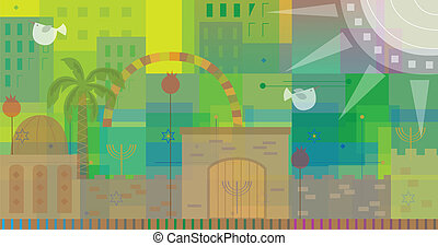 Abstract Jerusalem - Abstract and colorful illustration of...