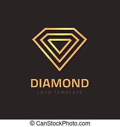 Abstract jewelry logo, diamond logotype design, gem stone golden jewellry