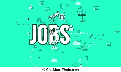 """""""Funny 3d rendering of a job design composition with various symbols including spyglass, globus, waymark, moving in the celeste backdrop in seamless loop."""""""