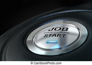 abstract job start button, metal material, blue color and black textured background. Focus on the main word and blur effect. Job concept