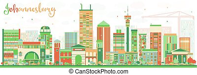 Abstract Johannesburg Skyline with Color Buildings.