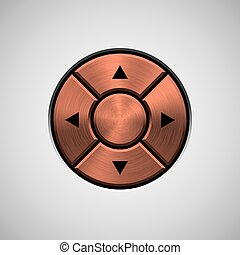 Abstract Joystick Button with Bronze Metal Texture