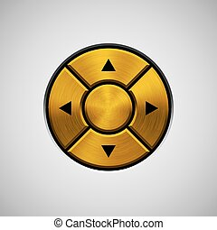 Abstract Joystick Button with Gold Metal Texture