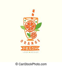 Abstract juice label with slices of juicy orange. Fresh summer beverage. Natural fruit drink. Hand drawn vector emblem