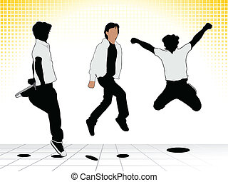 abstract jumping silhouettes