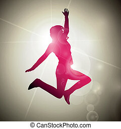 Abstract Jumping Vector Girl - Vector Illustration of an...
