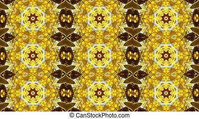 Abstract kaleidoscope motion background. Blue yellow white...