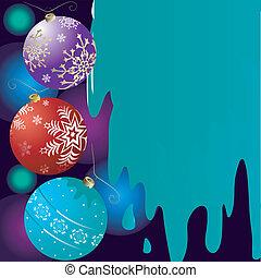 abstract, kerstmis, achtergrond, met, klokken, (vector)
