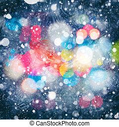 abstract, kerstmis, achtergronden, met, beauty, bokeh