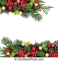 abstract, kerstmis, floral rand