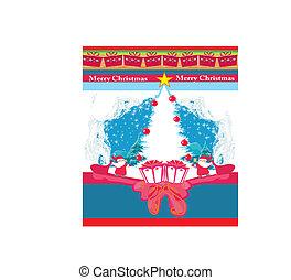 abstract, kerstmis kaart, met, santa claus