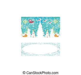 abstract, kerstmis kaart, met, santa claus, en, rendier