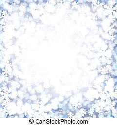abstract, kerstmis, snow., achtergrond, zacht, pluizig