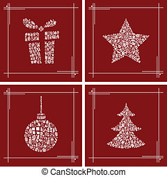 abstract, kerstmis, symbool, set