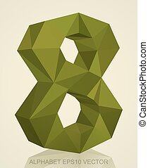 Abstract Khaki 3D polygonal number 8 with reflection. EPS 10 vector.