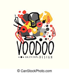 Abstract kid s style drawing for Voodoo magic logo or label design. Religion and culture theme print. Hand drawn colorful mystical vector illustration