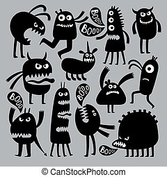 Abstract kids fear monster character. Black silhouette