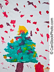 Abstract kid's painting of Christmas tree with gifts