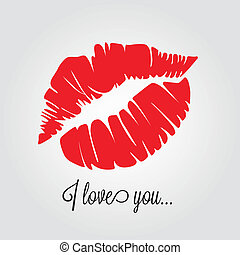 abstract kiss with text I love you