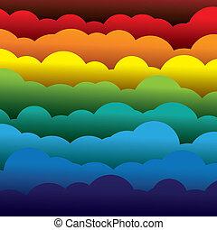 abstract, kleurrijke, 3d, papier, wolken, achtergrond, (backdrop), -, vector, graphic., dit, illustratie, bevat, lagen, van, wolken, gevormde, gebruik, papier, in, kleuren, zoals, rood, sinaasappel, gele, groen en blauwe