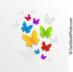 abstract, kleurrijke, achtergrond, met, regenboog, vlinder