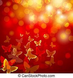 abstract, kleurrijke, achtergrond, met, vlinder