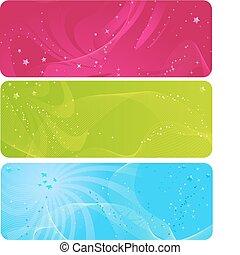 abstract, kleurrijke, banieren, sterretjes