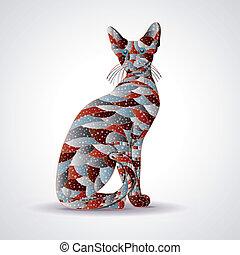 abstract, kleurrijke, cat.
