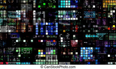 abstract, kleurrijke, model, van, geleide, licht, squares.,...
