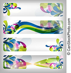abstract, kleurrijke, spandoek, /, ontwerpen