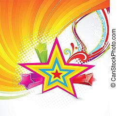 abstract, kleurrijke, ster, achtergrond