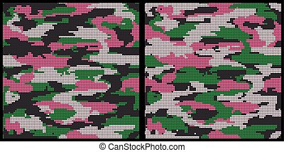 Abstract Knitting Seamless Textures Set. Military Decorative...