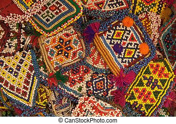 abstract, kralen, achtergrond, ethnische