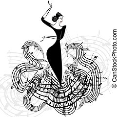 abstract lady music