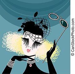 abstract lady with eyeglasses - abstract womans head with...