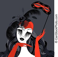 abstract lady with red mask