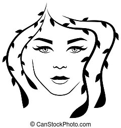 Abstract lady with stylized floral hair and with distinctive eyes, isolated on the white background vector for cosmetic products design