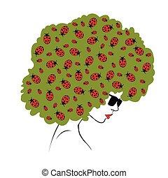 abstract  ladybugs hair - Illustrat