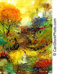abstract landscape - Abstract oil painting. My own artwork.