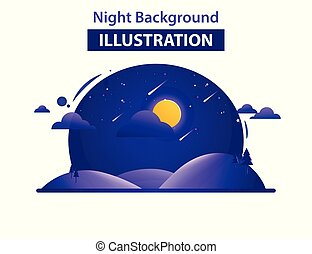 Abstract Landscape Background Vector Illustration, Night background illustration