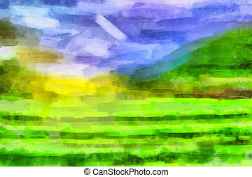 Abstract landscape - Abstract colored bright digital...