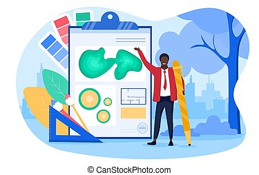 Abstract landscape design concept with a man landscape designer coming up with a layout of objects. Flat cartoon vector illustration with fictional character.