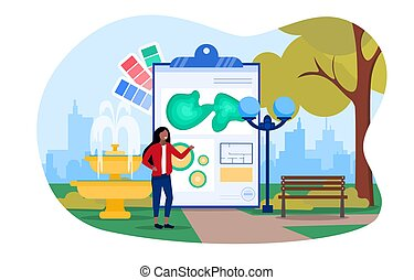 Abstract landscape design concept with a woman landscape designer coming up with a layout of objects. Flat cartoon vector illustration with fictional character.