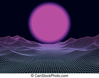 Abstract landscape mesh with sun on horizon.