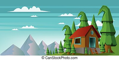 Abstract landscape with a house in